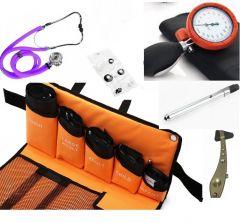 Kit Tensiomètre manuel de base type palm kit kit 5* brassards, Qualité Supérieure (y compris stéthoscope, lampe style, marteau à reflexe ) ST-A79S-SET